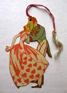 Vintage Woman in Bonnet Dancing w Man Bridge Tally Art Deco Illustration, Illustrations, Vintage Cards, Vintage Postcards, Vintage Photos, Playing Card Crafts, Playing Cards, Art Deco Posters, 1920s Art