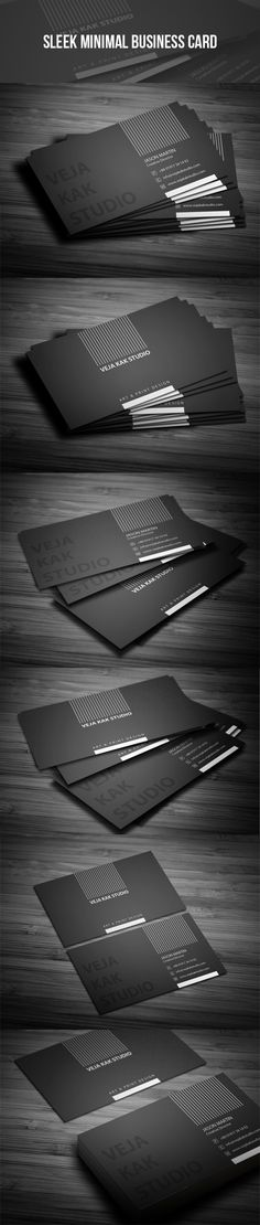 Sleek Minimal Business Card by vejakakstudio Sleek minimal business card. Best suitable for personal and commercial use. Business Card Maker, Business Card Psd, Minimalist Business Cards, Unique Business Cards, Business Card Design, Creative Business, Visiting Card Design, Name Card Design, Web Design