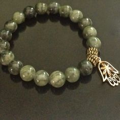 Protection Hamsa Bracelet, Green Jasper