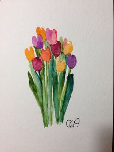 Tulips Watercolor Card by gardenblooms on Etsy