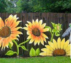 Stunning Creative Fence Ideas for Your Home Yard 16 - Rockindeco Garden Fence Art, Garden Mural, Garden Yard Ideas, Backyard Fences, Garden Crafts, Garden Projects, Backyard Landscaping, Fence Ideas, Garden Beds