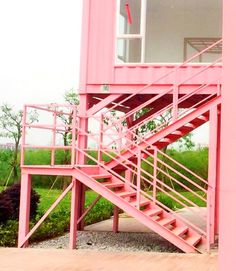 Shipping containers 420875527678338385 - Shipping Container Homes & Buildings: Pink Villa – Two-Story Shipping Container House Built from Two Extra Wide Shipping Containers, Foshan, China Source by Shipping Container Design, Cargo Container Homes, Building A Container Home, Container Buildings, Container Architecture, Container House Design, Sustainable Architecture, Architecture Design, Shipping Containers