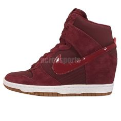 Wmns Nike Dunk Sky Hi Essential Red Brown Womens Fashion Wedge Shoes 644877-603 #Nike #FashionSneakers