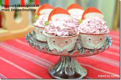 Pepparkakscupcakes med lingonfrosting