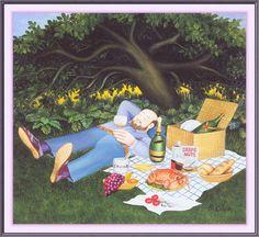 A Picnic. Artwork by Beryl Cook