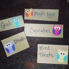 Owl Theme Birthday Snack Cards