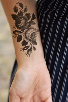 Large vintage roses floral temporary tattoo by Tattoorary on Etsy, $12.00