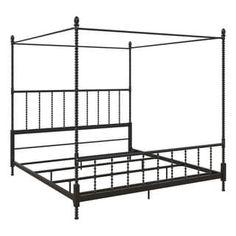 Furniture Deals, Bedroom Furniture, Bedroom Decor, Master Bedroom, Queen Size Frame, Metal Canopy Bed, Black Rooms, Black Bedding, Adjustable Beds