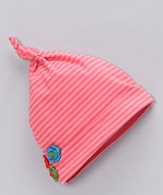 Coral Stripe Single-Knot Beanie