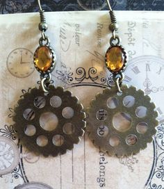 Steampunk Gear Earrings by LithiasCreations on Etsy, $10.00
