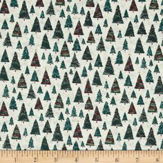 Dear Stella Mount Snow Christmas Trees Cream from @fabricdotcom  Designed for Dear Stella Designs, this cotton print fabric is perfect for quilting, apparel and home decor accents. Colors include hunter green, red, blue, orange, and cream.