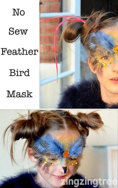 This No sew feather bird mask looks stunning as was perfect for the owl tribe at the Just So Festival