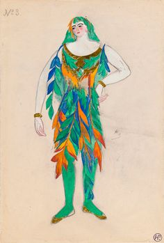 Natalia Goncharova (1881-1962). Sadko, Costume design, 1916. Watercolor and pencil with gold foil. Howard D. Rothschild Collection. pf MS Thr 414.4 (64). Bequest, 1989.