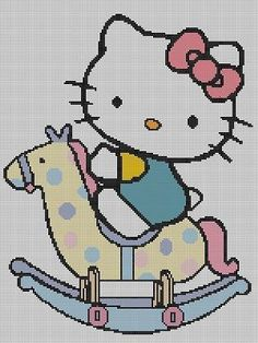 Hello Kitty Rocking Horse Crochet Pattern Afghan Graph #044