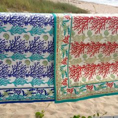 Coral Reef Quilts in Blue, Red and Sand Coastal Bedding, Linen Bedding, Bed Linen, Beach Bedroom Decor, Queen Quilt, Sea And Ocean, Beach House, Beach Condo, Decorative Boxes