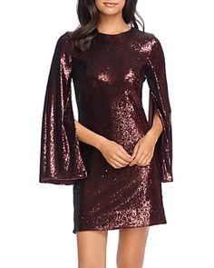 Dress the Population Liza Cape-Sleeve Sequin Dress - Port Illusion Dress, Dress The Population, Sequin Dress, Sheath Dress, Stretch Fabric, Dresses Online, Fabric Design, Sequins, Model