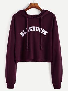 Black Letter Print Drop Shoulder Sweatshirt