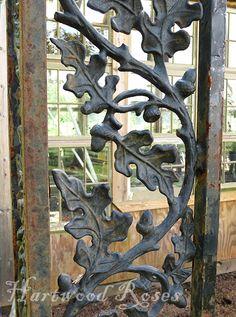 greenhouses and garden gates . . . Vintage cast iron oak leaf porch support.