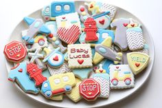 """""""Go Baby, Go!"""" Cookie Theme - The Cookie Confectionery Car Cookies, Order Cookies, Cookies For Kids, Royal Icing Cookies, Cookies Et Biscuits, Baby Shower Cookies, Shower Cake, Boy Shower, Galletas Cookies"""