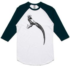 theIndie Long Tailed Bird (Black) 3/4-Sleeve Raglan Baseball T-Shirt