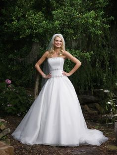 Shantung Strapless Hand Beaded Trim Bodice A-line Wedding Dress