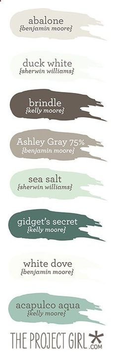 Coastal-themed paint colors Jenallyson - The Project Girl - Fun Easy Craft Projects including Home Improvement and Decorating - For Women and Moms Coastal Paint Colors, Paint Colors For Home, Wall Colors, House Colors, Paint Colours, Beachy Colors, Nautical Colors, Paint Schemes, Colour Schemes