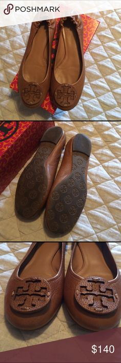 Tory Burch Reva Tumbled Leather sz 10 Tory Burch Reva tumbled leather - royal tan flats. Sz 10.  In very good condition.  Comes with box. Tory Burch Shoes Flats & Loafers