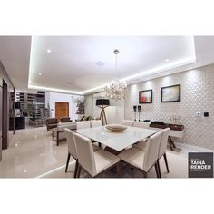 Ver esta foto do Instagram de @arquitetatainarehder • Sala, sala integrada, produto Cerâmica Portinari, Sides Wh. Salas, Rooms.