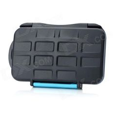 JJC Water Proof Plastic CF / SD Memory Card Case - Black + Blue