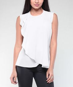 Loving this White Ruffle Sleeveless Top - Plus Too on #zulily! #zulilyfinds