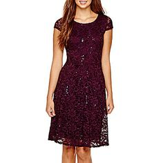 jcp | RN Studio by Ronni Nicole Cap-Sleeve Lace Fit-and-Flare Dress