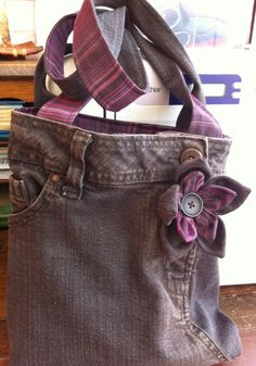 Brown upcycled jeans bag