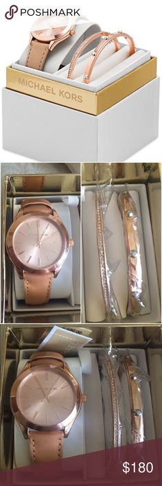 Michael Kors Watch Women's Michael Kors rose gold watch and bracelet set • rose gold face with matching leather band - two rose gold bracelets, 1 with Swarovski crystals, 1 with silver studs  price negotiable  Michael Kors Jewelry Bracelets