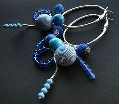 kolczyki - drewno-blues - kolczyki 04 Earrings, Jewelry, Fashion, Ear Rings, Moda, Stud Earrings, Jewlery, Bijoux, Fashion Styles