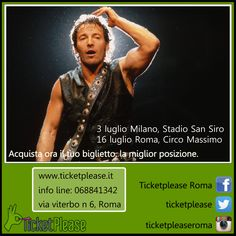 """Acquista ora il tuo biglietto """" Bruce Springsteen and the E Street Band """" info line: 068841342 www.ticketplease.it mail: info@ticketplease.it La nostra sede: via Viterbo n.6, Roma. Spediamo in tutta Italia con Bartolin Le date: 3 luglio Milano, Stadio San Siro 16 luglio Roma, Circo Massimo - Postepay Rock in Roma #tour #teatro #spettacolo #musica @barleyofficial @springsteen #TheRiverTour #springsteen @blogness @Rock_in_Roma"""