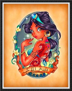 Disney Pin Up Tattoos I am a big fan of Tattoos and these designs are amazing! Tim Shumate has turned well known Disney Princesses in. Disney Pin Up, Art Disney, Disney Kunst, Disney Love, Disney Magic, Punk Disney, Disney Girls, Disney Tattoos, Tattooed Disney Characters