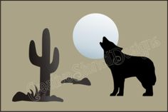 Free Printable Native American Designs   S161 New Stencil Coyote Howling Wolf Moon Desert Cactus Southwest ...