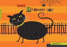 halloween fabric with black cats   Halloween, all you goblins and ghouls, witches and warlocks, black ...