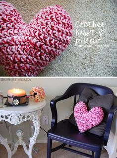 mon makes things: Crochet Heart Pillow**Darling! Free Pattern :-) Thsnks for sharing w/us Monica!**