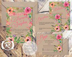 Printable Wedding Invitation, Summer Watercolor Floral, Floral Wedding Invite, Floral Bohemian Style, RSVP card DIY Printable Invitations
