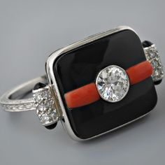 Antique Platinum Art Deco Style European-cut Diamond Black Onyx and Coral Ring
