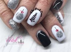 Silver And Black Christmas Nails by NailsByDedee