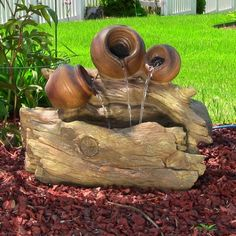 Tree Stump Cascade Water Feature With Lights Backyard