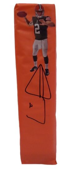 Johnny Manziel signed Cleveland Browns full size football touchdown end zone pylon w/ proof photo.  Proof photo of Johnny signing will be included with your purchase along with a COA issued from Southwestconnection-Memorabilia, guaranteeing the item to pass authentication services from PSA/DNA or JSA. Free USPS shipping. www.AutographedwithProof.com is your one stop for autographed collectibles from Cleveland sports teams. Check back with us often, as we are always obtaining new items.