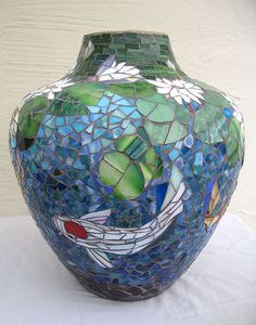 ScallonArt - available mosaic pieces - large blue vase depicts koi pond