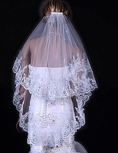 Wedding+Veil+Two-tier+Fingertip+Veils+Lace+Applique+Edge+31.5+in+(80cm)+Tulle+White+IvoryA-line,+Ball+Gown,+Princess,+Sheath/+Column,+–+USD+$+26.00