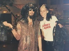 Rob Zombie on the set of Late Night with David Letterman with Sheri Moon Zombie in 1995
