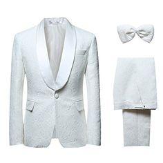 Men's 1 Button 2 Piece White Tuxedo Shawl Collar Skinny D...