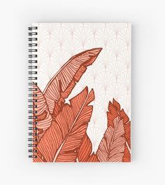 Hand-drawn banana leaves, turn into a red vector illustration on vintage pattern background. From ink pen hand drawing by DesigndN. Inspired by my granny's living room. • Also buy this artwork on stationery, apparel, stickers, and more.