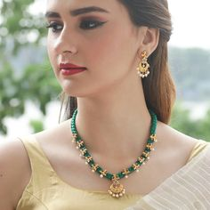 Premium quality gold plated thread necklace from Gold Jewellery Design, Bead Jewellery, Jewelry Necklaces, India Jewelry, Designer Jewellery, Designer Wear, Fine Jewelry, Silk Thread Necklace, Gold Jewelry Simple